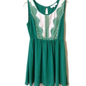 Altar'd State emerald green fit and flare dress